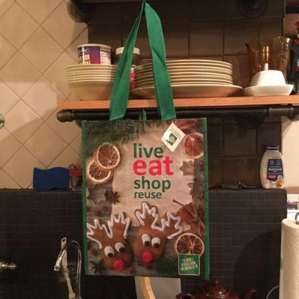 画像1: フレッシュマーケット エコバッグ Live eat (1)